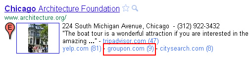 Groupon showing up in the clustered results in Place Search.