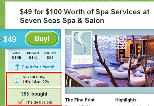 A competitor deal page on Groupon.