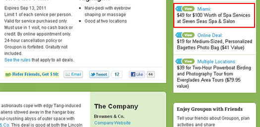 A live competitor deal on a Groupon company page.