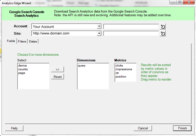 Select queries in Analytics Edge via Fields tab.