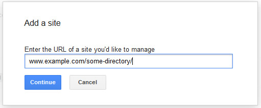 Add A Directory in Google Webmaster Tools