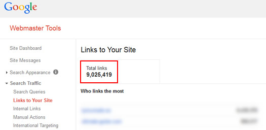 Inbound Links in Google Webmaster Tools