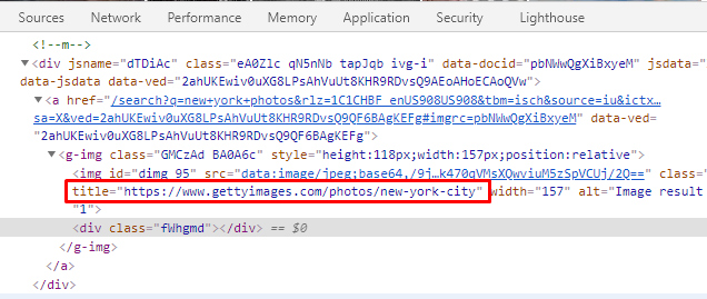 Image pack links actually lead to Google Images but the title attribute contains the url from third-party websites.
