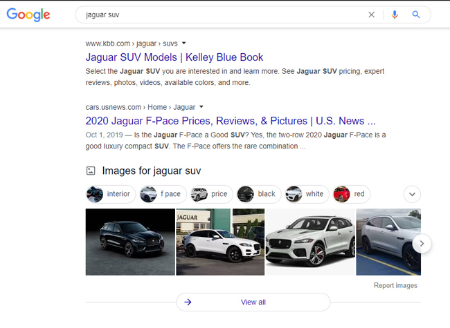 "Image pack ranking in Google for ""jaguar suv""."