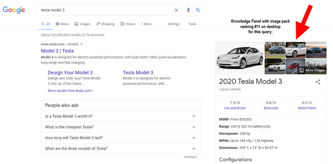 Images ranking in Web Search in a Knowledge Panel.