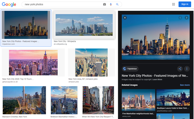 Image search results for New York Photos.