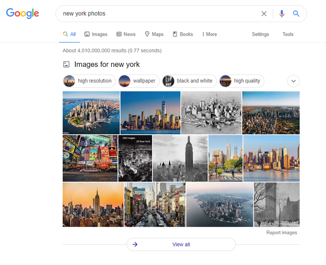 Image block for New York Photos in the Google web search results that lead to Google Images.