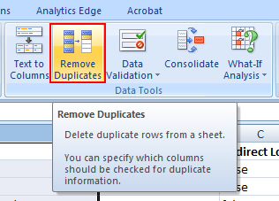 Dedupe in Excel