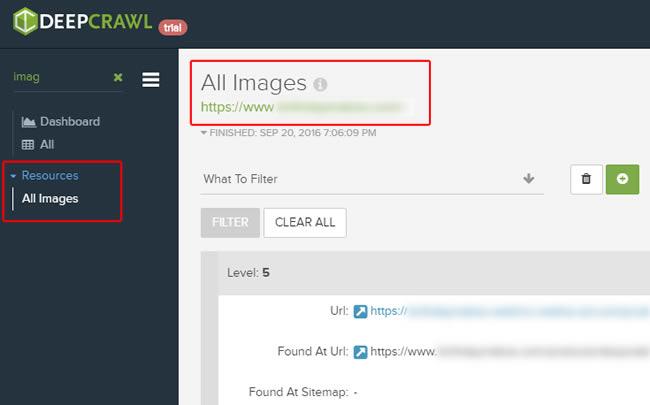 Image report in DeepCrawl