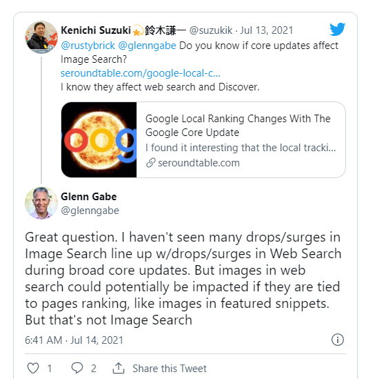Reply to tweet about Google core updates and image search.