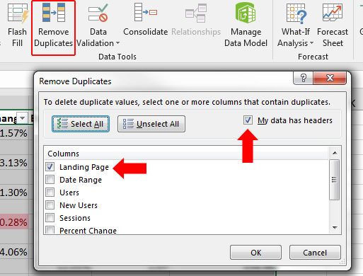 Dedupe in Excel.