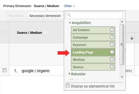 Dimension by landing page in Google Analytics.