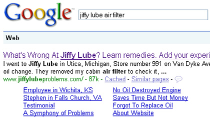 Search for Jiffy Lube Air Filter on Google