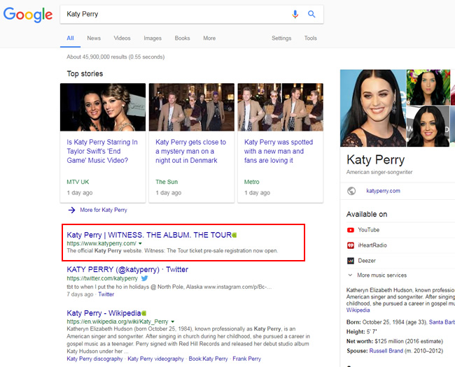 Katy Perry's official site still ranking #1 after the algorithm update.