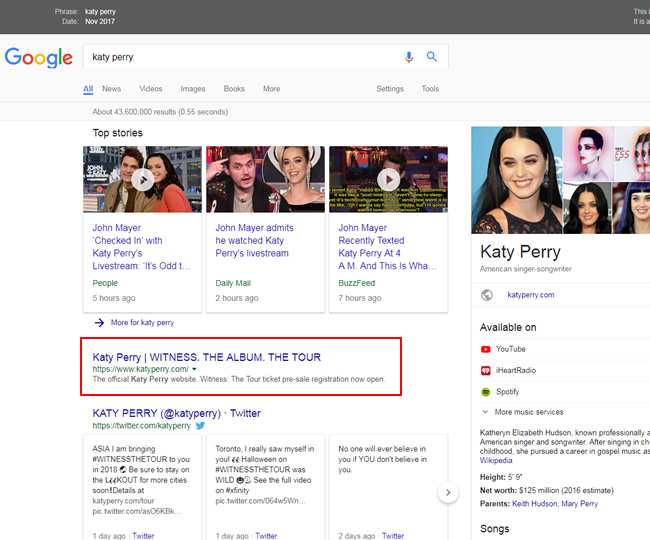 Katy Perry's official site ranking #1 before the algorithm update.