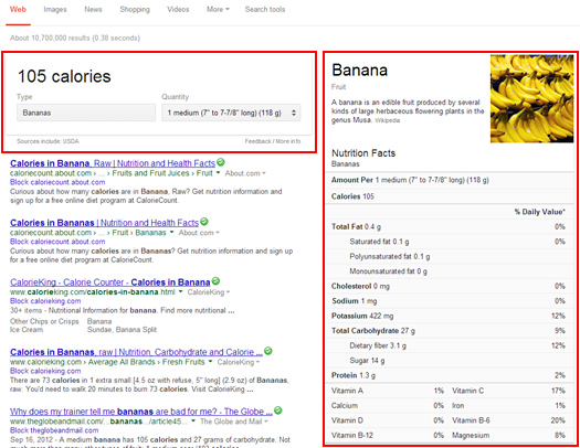 Nutrition Information in the Search Results