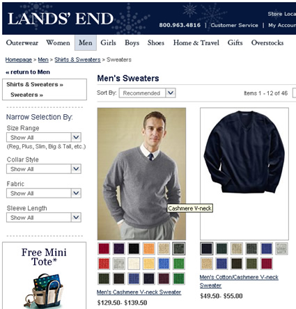 Lands End Category Listing Change View and Color