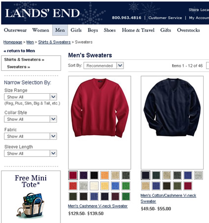 Lands End Category Listings