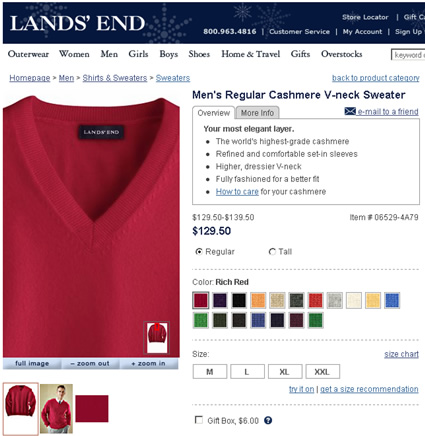 Lands End Zoom Functionality on the Product Detail Page