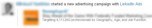 A New LinkedIn Ad Being Published as a Network Update