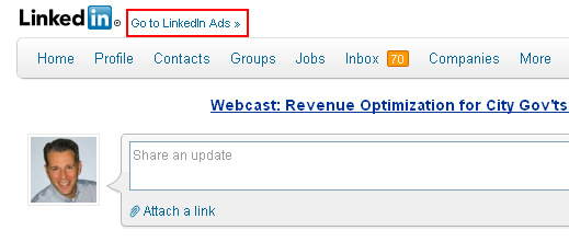 Accessing LinkedIn Ads Via The Link On Your Homepage
