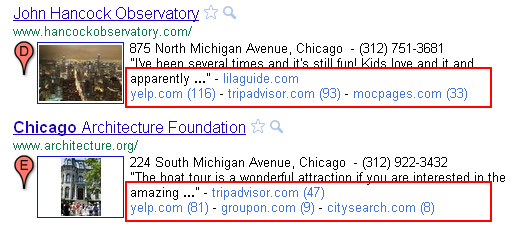 Clustered results in Google Place Search (Local Search).