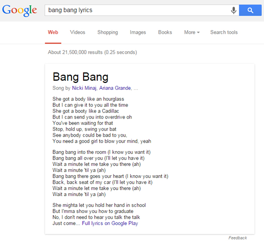 Bang Bang Lyrics in US Google SERPs