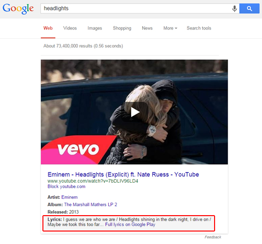 Lyrics in Google SERPs Linking To Google Play