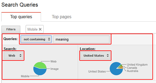 Google Webmaster Tools Filters for Property, Location, and Query