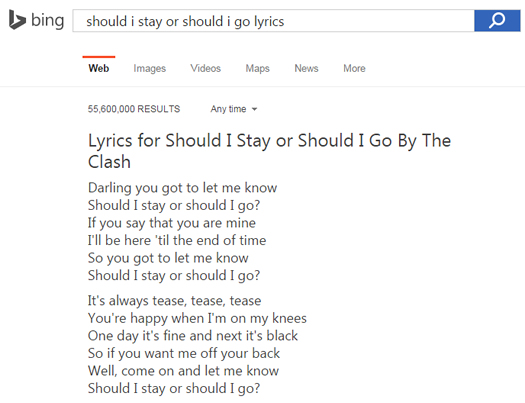 Lyrics in Bing SERPs