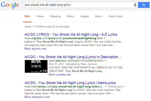 You Shook Me All Night Long Without Lyrics in US Google SERPs
