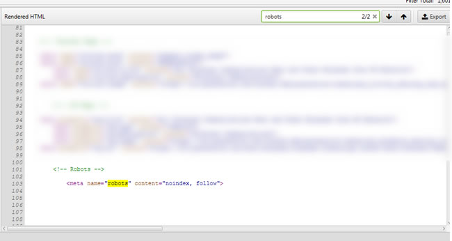 Bug fixed and meta robots tag in the head of the rendered html.
