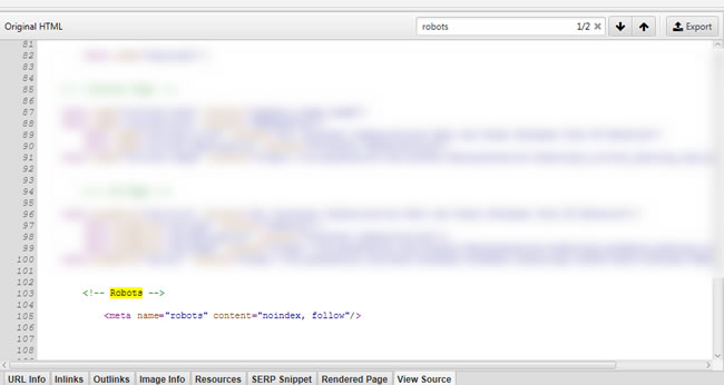 Bug fixed and meta robots tag in the head of the static html.