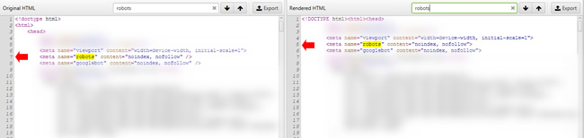 Screaming Frog static versus rendered html for another site running the same CMS.