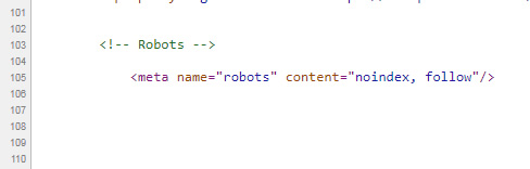 Meta robots tag from static html.