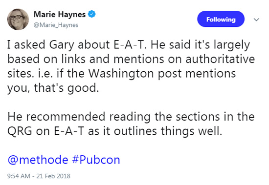 Marie Haynes tweet about E-A-T.