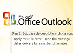 Setting up a rule in Outlook to delay your emails.