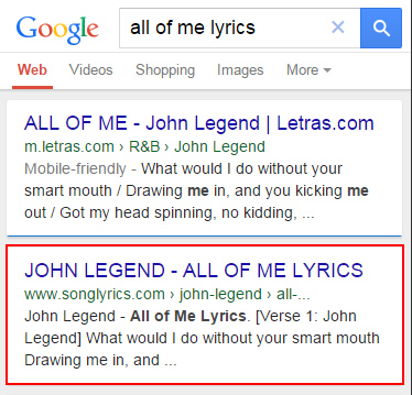 Mobile Friendly Algorithm Songlyrics.com Mobile SERPs