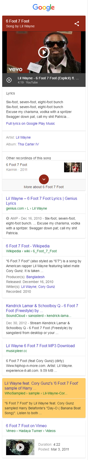 Previous ranking for whosampled 6 foot 7 foot.