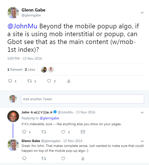 Google's John Mueller about mobile popups.
