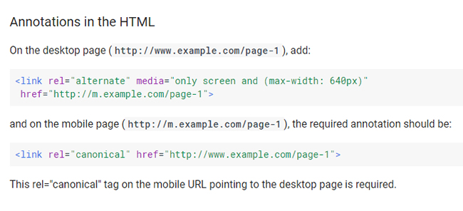 Bidirectional annotations when using separate mobile urls.
