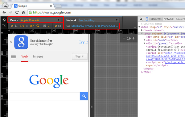 Emulating An iPhone 6 in Chrome Developer Tools