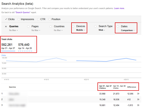 Comparing Mobile Traffic in Search Analytics Reporting (beta)