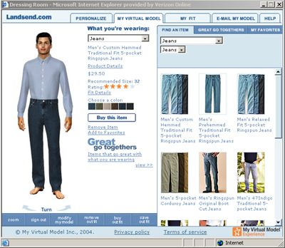 The Interface for My Virtual Model's Dressing Room Application
