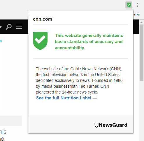 Newsguard in Chrome.