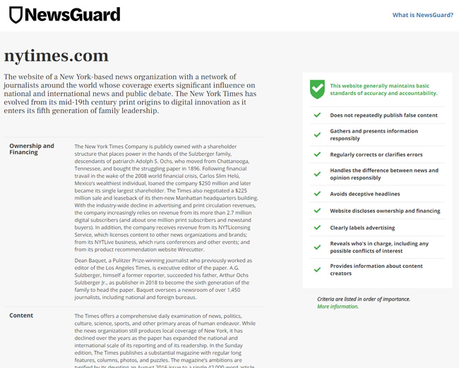 Newsguard ratings for The New York Times.