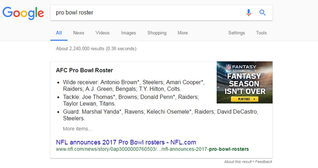 Breaking News Featured Snippet NFL Pro Bowl Rosters