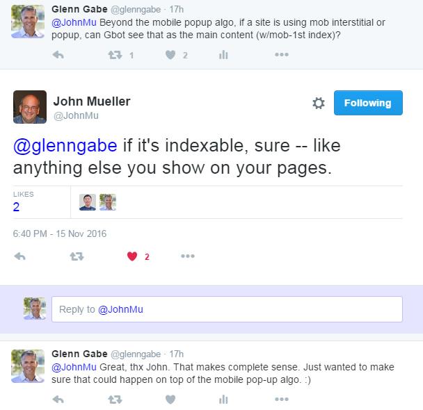 John Mueller about mobile interstitials.