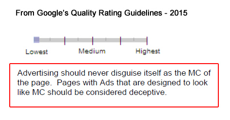 Ad Deception and Google's Quality Rating Guidelines