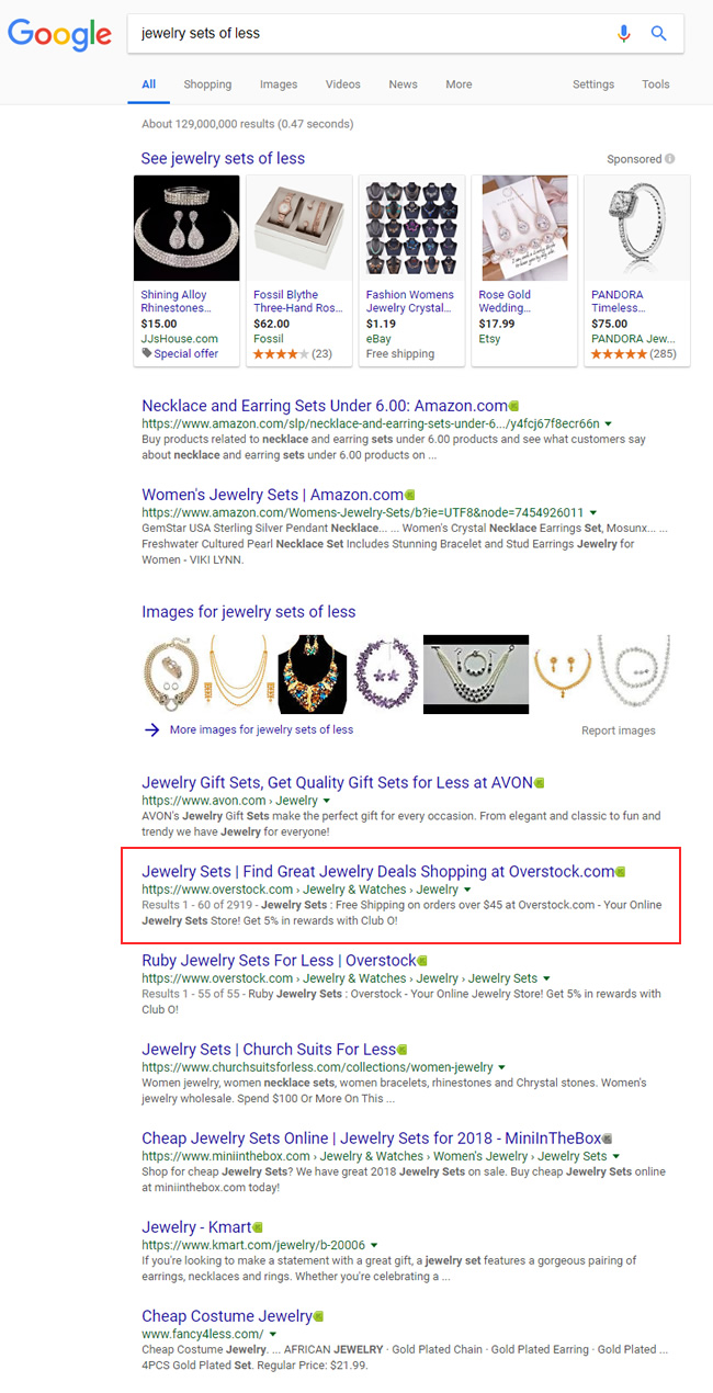 Jewelry sets for less - video carousels missing.